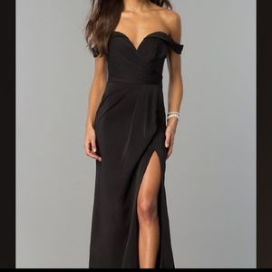 Faviana Off Shoulder Black Dress